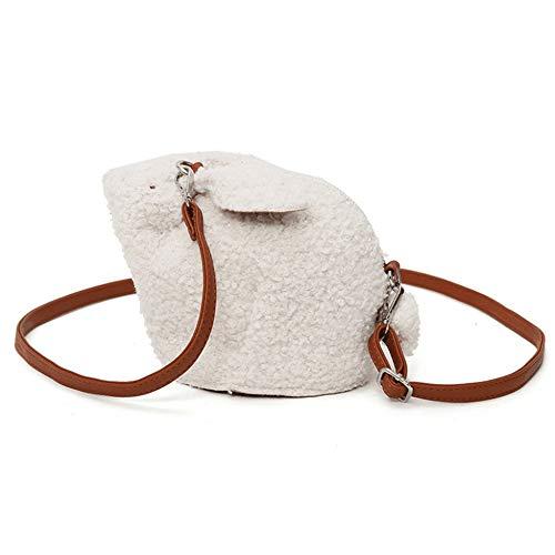 Tatkldisu Frauen Rucksack Cute Purse Plüsch Panda Crossbody Reisetasche Handy Geldbörse (Color : White Rabbit)