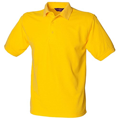 Henbury Herren komfortable Fit Stand-Up Collar Short Sleeved-Poloshirt 65/35 (DE) Gelb - Gelb