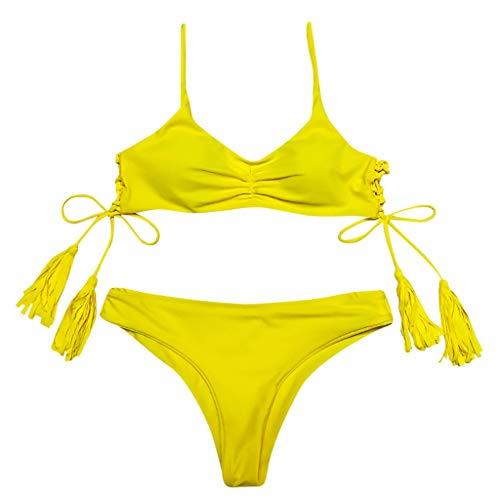 Donne Solido Beachwear Patchwork 2 Pezzi Fasciatura Bikini Costume da Bagno