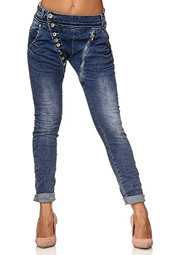 Elara Damen Jeans | Knopfleiste | Reißverschluss | Chunkyrayan C613MK/H-F Dk.Blue 36/S -