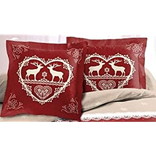 Alpes Blanc Set of 2 Pillow Cases 65 x 65 cm Chalet Winter Red