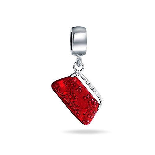 Bling Jewelry Sterling Silver Red borsa frizione ciondola branello di fascino