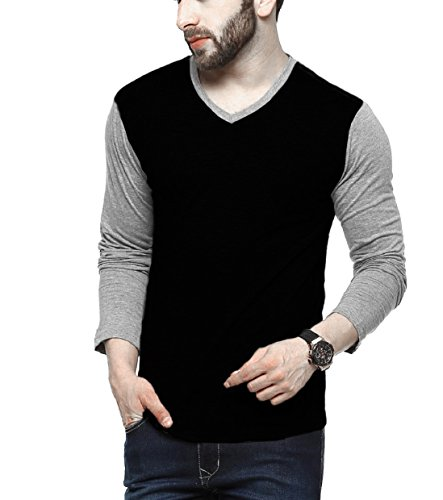 Tripr-Mens-V-Neck-Full-Sleeves-Tshirt-Black-grey