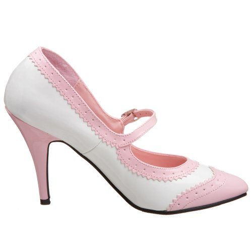 Demonia Dolly-50, Mary Jane Femme Wht Str. Pat/Blk