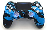 Blue Splatter Illuminating Thumbsticks PlayStation 4 V2 (new version) Rapid Fire Controller for Major FPS games: Quick Scope, Drop Shot, Auto Run, Sniped Breath, Mimic, More