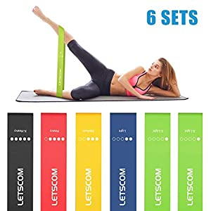 LETSCOM Unisex 6 Level Resistance Bands Loop, Black, Blue, Yellow, Red, Green, Universal