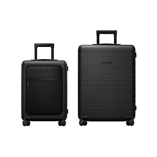 HORIZN STUDIOS Travel Set | M5 Handgepäck & H6 Check-In Reisekoffer | 2 TLG. Hartschalenkoffer Trolley Set, Schwarz (Black)