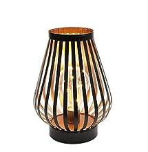 JHY DESIGN Lampada da Tavolo 22cm alta In Ferro Vintage Stile Gabbia luci Luce led a Batteria senza fili lampada comodino per camera da letto o soggiorno balcone matrimoni(Bronzo,A forma di uovo)