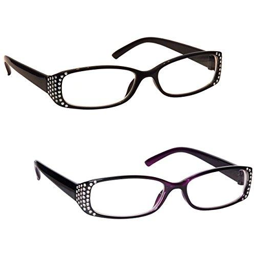 Schwarz & Schwarz Lila Diamonte Stil Kurzsichtig Kurzsichtigkeit Fernbrille Wert 2er-Pack Frauen...