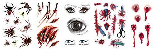 AMDXD Schmuck Halloween Kostüm Make Up Tattoos Aufkleber Spinne Teufel Augen Vampir Wunden Halloween Narben Blut (Machen Sie Es Sich Paare Halloween Kostüme)