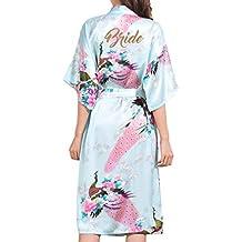 Kunfang Mujeres Flor Kimono Albornoz Elegante Señora SPA Camisón de Satén Sedoso Ropa de Dormir Encantadora