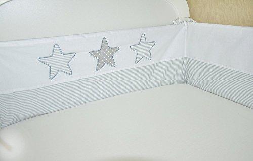 Bettumrandung Nest Kopfschutz Nestchen 420x30cm, 360x30cm, 180x30 cm Bettnestchen Baby Kantenschutz Bettausstattung mit Stickerei S01 (180x30)