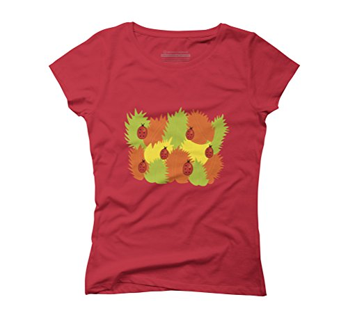 Leaves And Ladybugs In Autumn Women's Graphic T-Shirt - Design By Humans Red