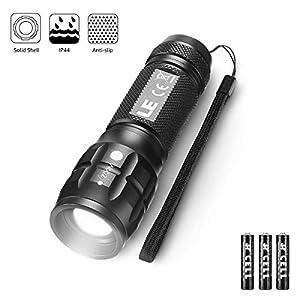 LE LED Taschenlampe, Wasserdicht Taschenlampen für Outdoor Sports, Tragbarer Zoombar Superhelle LED Flashlight, Extrem Hell Camping Taschenlampe für Männer, Frauen, Kinder (Dark Black 1 Pack)