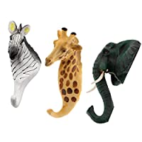 F Fityle 3pcs Vintage Giraffe Zebra Elephant Head Suction Hook Window Wall Strong Suction Wall Hooks Hanger Hat Clothes Coat Hanging Rack