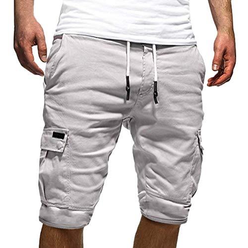 Tomwell Uomo Pantaloni Corti Bermuda Cargo Pantaloncini Uomo Cotone Lavoro Pantaloni Tasconi con Elastico Pantofole Estive Casual Pantaloncino Sportivi Bianco X-Large