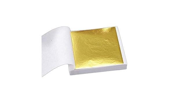 100 Pages 24K Gold Leaf Art Art Design Gold-Plated Frame Decorative Materials Home Bedroom Stencil Decoration Crafts, Not Edible