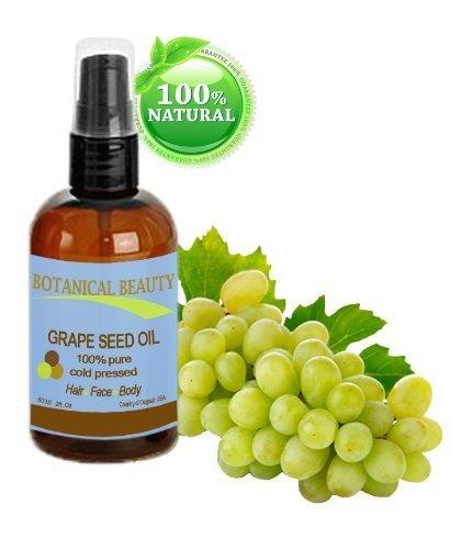 Huile de pépins de Raisin, 100% naturel huile pure / pressée à froid pour le visage, le corps et les cheveux - 60 ml. «Un des apesanteur, et le plus léger cohérence des huiles à utiliser dans cheveux et la peau produits.\\