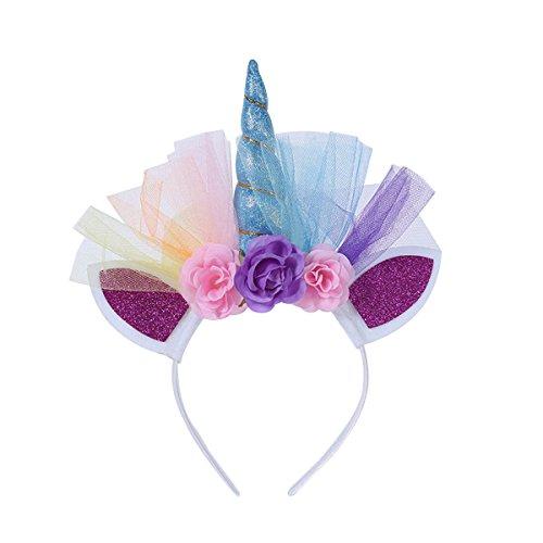 band Kopfschmuck Frcolor Blumen Haarreif Haarband Kostüm Zubehör Kinder Mädchen Geburtstag Party Neujahr Geschenk (Blau) (Maskerade-geburtstags-party)
