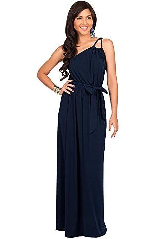 KOH KOH® Damen Ein Schulter Langes Maxikleid Brautjungfern Cocktail Party Kleid, Farbe Marineblau, Größe M / Medium (Mutter Der Braut Formal Wear)