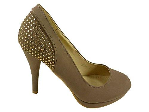 Chaussures escarpins femme à talons hauts, plateforme et strass Taupe