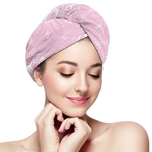 Agoyls Gorro de Baño/Gorro de Natacion,Womens Hair Drying Towel Wrap Turban with Button Mandala Flower Indian Boho Pink Soft Absorbent Microfiber Wrapped Bath Cap Twist For Long & Curly Hair