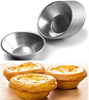 U-HOOME 25 Pack Aluminum Egg Tart Molds Tiny Pie Cupcake Cake Cookie Mold Pudding Mould Baking Tool Non Stick