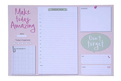 Tri-Coastal Design - Planner Giornaliero Perpetuo da Scrivania - Agenda da Tavolo per Ufficio senza Data - Fantasia Colorato Rosa e Bianco - Block Notes per Appunti