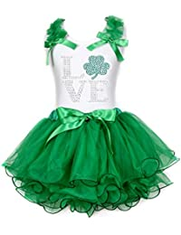 Petitebella Im Irish Kiss Me Black L//s Shirt Green Bling Skirt Set 1-8y