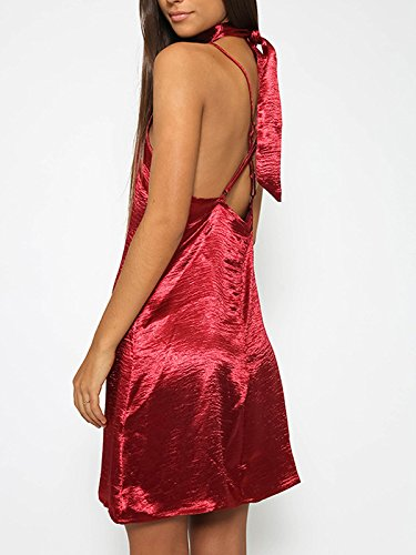 Damen Kleider Trägerkleid Trägertop V-Ausschnitt Rückenfrei Hell Mini Neckholderkleider Einfarbig Cocktailkleid Rot