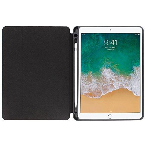 iPad Pro12.9 Folio Hülle Magnetverschluss Auto Sleep/Wake-Funktion mit Apfel Bleistift Halter und Ständer für iPad 12.9 2017 2 Generation 2015 1st Gen Schwarz 12.9 inches