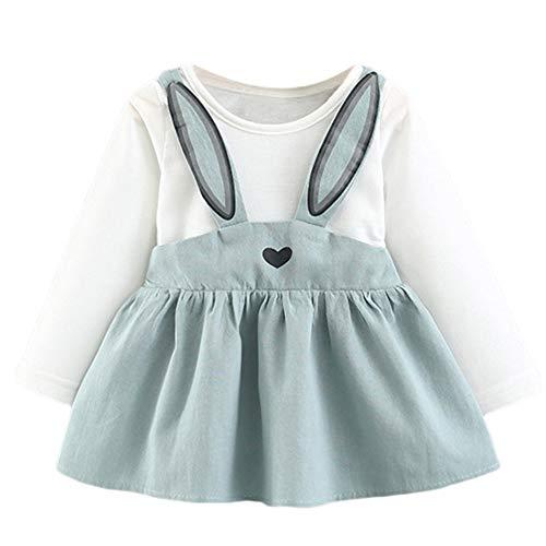 inchen Ohren Kleider, Baby Mädchen Langarm Bunny Strap Party Kleidung Prinzessin Gefälschte Zweiteilige Rock (3-6 T) Ostern (Blau,15) ()