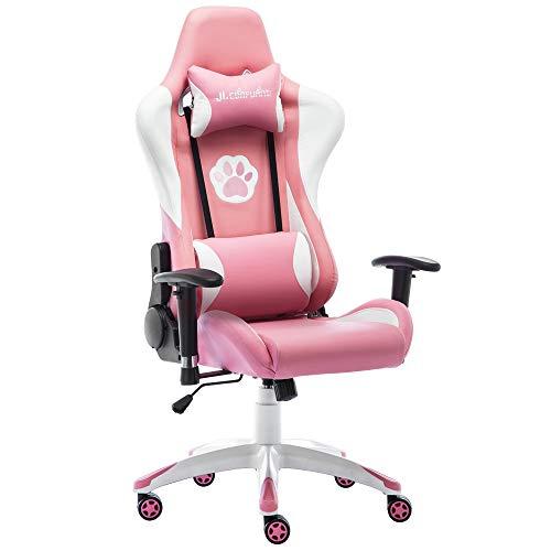 JL Comfurni Gaming-Stuhl Racing Style hohe Rückenlehne, PU-Leder Chefsessel und ergonomischer Bürodrehstuhl mit Kopfstütze und Lendenwirbelstütze, Pink