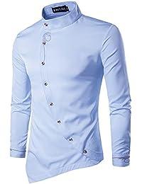 Whatlees Hombres Camiseta de manga larga de dise?o extra largo