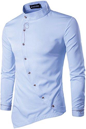 WHATLEES Herren urban Basic lang geschnittenes Hemd mit asymmetrisches und aufgesticktes Design Stehkragen B404-Blue-XL