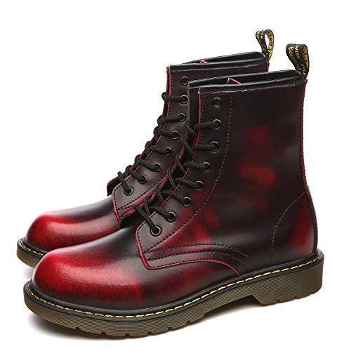 Orktree Unisex-Erwachsene Chelsea Boots Damen Stiefel Wasserdicht Kurz Stiefeletten Schuhe Herren Combat Worker Boots,Rot,41 EU