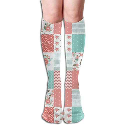 Women's Fancy Design Stocking Squares Cute Cheater Quilt Blossoms Blooms Girls Sweet Floral Blanket Baby Blanket Cheater Quilt Wholecloth Girls Multi Colorful Patterned 50CM(19.6Inchs) Knee High Socks -
