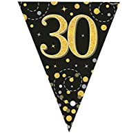 Hi Fashionz Black Gold Sparkling Fizz Birthday Party Holographic Bunting 11 Flags 3.9m 30th Ages