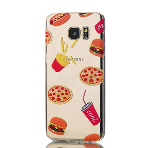 KSHOP TPU Silikon Hülle für Samsung Galaxy S7 Edge Handyhülle Schale Etui Protective Case Cover dünn mit Drucken Muster - Hamburger Französisch Frites Koks Pizza (Damen Geldbörse Französisch Brieftasche)
