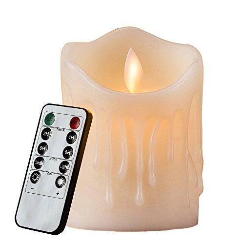 Flammenlose LED Kerzen Echtwachskerze mit beweglicher Flamme Timerfunktion mit Fernbedienung Elektrische Batteriebetriebene Kerze Lampe Schlafzimmer Wohnzimmer Deko für Hochzeit, Geburtstags, HiChili Bar / Hochzeit Dekorationen / Weihnachtsdekorationen 7.5 x 10cm Warmweißes Licht, 1pcs