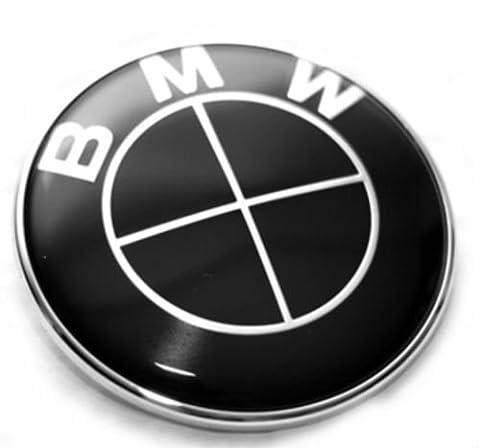 Dunwoth BMW Emblem 82 mm Motorhaube Wappen Heckklappe Logo 1er 3er 5er 6er 7er..... (Schwarz 82 mm Geschenkkarton