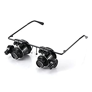 Winbang Reparaturlupe, kopfgetragene LED-Lupenbrille beleuchtet einstellbare Schmuckuhr Reparaturbrille Typ 20X