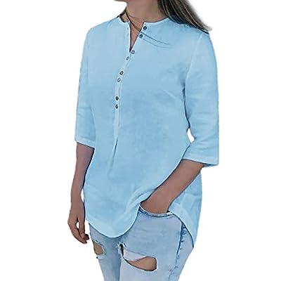 Yvelands Damen Mode T-Shirts V-Ausschnitt Lässige Lose Sommerblusen Kurze Ärmel Tops Einfarbig