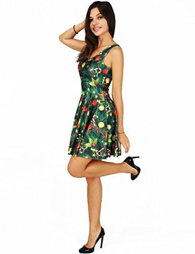 Ninimour Robe Patineuse Fleur Imprimé Bretelles Femme Multicolore-1