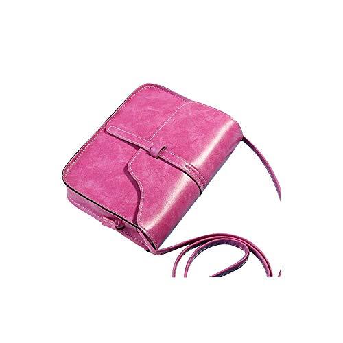 OdeJoy JahrgangGeldbörse Mini Diagonale Umhängetasche Leder SchultertascheEimertasche Brieftasche Handtasche Reisetaschen Aktentasche Abendtasche Tagesrucksack (Heiß Rosa,1 PC) -