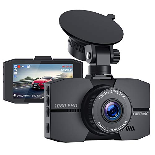 "Campark Dash Cam 1080P Full HD DVR Dashboard Camera for Cars with 3"" IPS Screen Super Night Vision 170° Wide Angle G-Sensor Loop Recording and Parking Monitor"