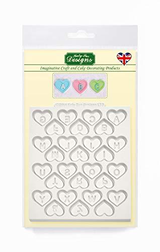 10,16 cm Fußmatte mit Fondant Form: Love Heart Alphabet (Hochzeit/Valentinstag)