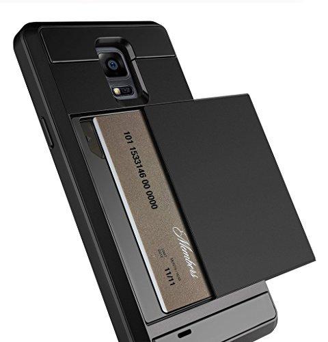Anuck Note 4Fall, Galaxy Note 4Wallet Case [Anti Scratch] [Heavy Duty] [Karte Pocket] Dual Schicht stoßfest [weichen Gummi Bumper] Schutz Hybrid Card Case Cover für Samsung Galaxy Note 4 -