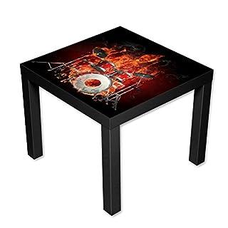 AWS-Werbetechnik Couchtisch Beistelltisch schwarz Motiv Brennnendes Skelett mit Schlagzeug Länge 55 cm - Breite 55 cm - Höhe 45cm