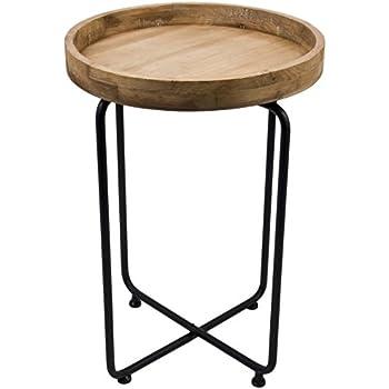Möbel design metall  Beistelltisch rund Vintage Design Metall Holz schwarz braun Tisch ...